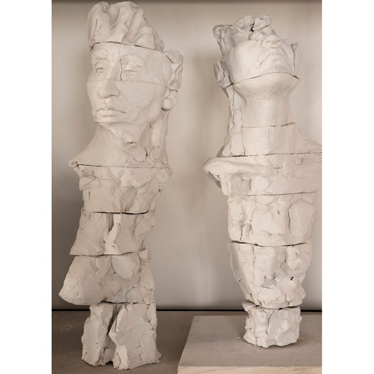 Fragmented Figure Sketches, Water Based Clay, Life-Sized